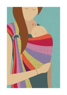 Babywearing Art Print Ring Sling by NorthernSunArtPrints on Etsy