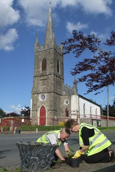 Members of Clonaslee Tidy Towns at work.