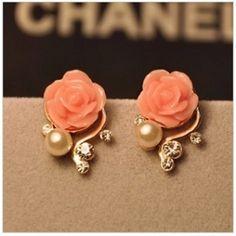 Bohemia Style Rhinestone Rose Earrings | bestwish - Jewelry on ArtFire by abby.green.710667