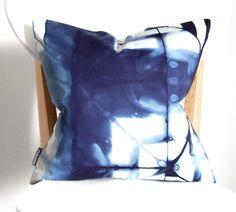 Navy Pillow  100 Organic Cotton Tie Dye by SeaAndStoneStudio, $60.00