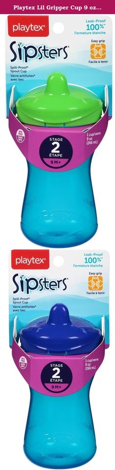 Playtex Lil Gripper Cup 9 oz 12M+ (3 Pack). Playtex Lil Gripper Cup 9 oz 12M+ Designed by child development experts, this non-insulated cup is contoured so your child can hold tight and control sipping. He grips and sips. You relax. Liquid flows easily when child sips, lid interchangeable with all Playtex cups. Dishwasher safe. Will fit most car cup holders. Colors may vary.