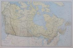 Antique CANADA Map BEAUTIFUL 1920 Vintage by plaindealing on Etsy