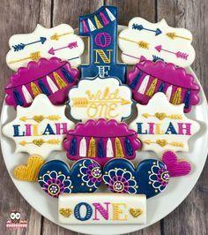 Wild one cookies, pow wow cookies, arrow cookies, bohemian cookies, streamer cookies, first birthday cookies