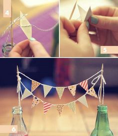 Mini bunting template and tutorial from A Pair of Pears: DIY Vintage Party.Would be nice for a doll party! Mini Bunting, Paper Bunting, Diy Vintage Party, Bunting Template, Bunting Tutorial, Deco Rose, Festa Party, Diy Party Decorations, Party Planning