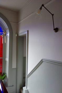 Farrow & Ball Peignoir and Worsted altbau Hallway Wall Colors, Grey Hallway, Hallway Paint, Hallway Colour Schemes, Victorian Terrace Hallway, Edwardian Hallway, Dado Rail Hallway, Hallway Flooring, Dado Rail Bedroom