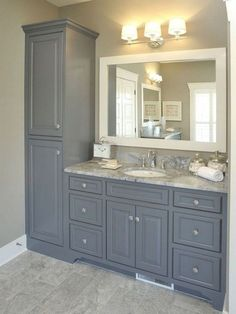 Super Ideas For Bathroom Vanity Storage Tower Upper Cabinets Old Bathrooms, Upstairs Bathrooms, Modern Bathrooms, Lighting For Bathrooms, Ideas For Bathrooms, Light Grey Bathrooms, Decorating Bathrooms, New Bathroom Ideas, Marble Bathrooms