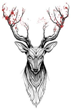 Deer tree (black stroke version for t-shirts) Art Print