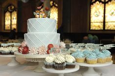 Beautiful Blue Striped Wedding Cake