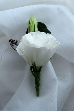 white lisianthus boutonniere - Google Search