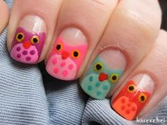 Owl nail art - tutorial