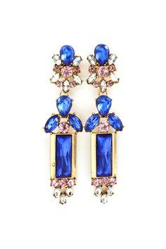 Seraphine Crystal Earrings in Royal