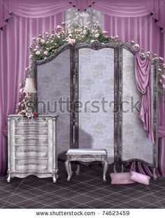 Google Image Result for http://image.shutterstock.com/display_pic_with_logo/472384/472384,1301981105,10/stock-photo-vintage-room-with-a-dressing-screen-and-pink-curtains-74623459.jpg