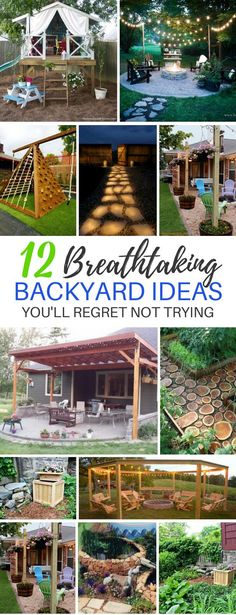 These 12 DIY Backyard Ideas Are AMAZING For Parties! I love the swinging benches and the deck projects! #backyard #backyardgoals #diy #diybackyard #diyprojects