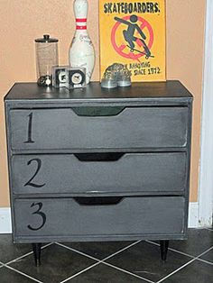 Anthropologie Ordinal Inspired Dresser...Number Dresser...Click the pic to see before pic and go to the site to see the steps...another great DIY