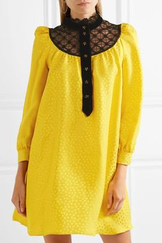 Philosophy di Lorenzo Serafini - Lace And Velvet-trimmed Satin-jacquard Mini Dress - Yellow