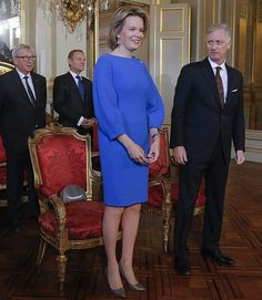 King Philippe and Queen Mathilde of Belgium Hosted a New Year's Reception for the Authorities of the European Union at the Brussels Royal Palace on January 25, 2017 in Brussels, Belgium.