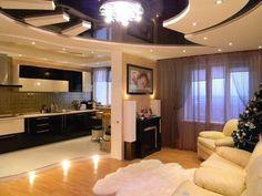Дизайн кухни с гостинной