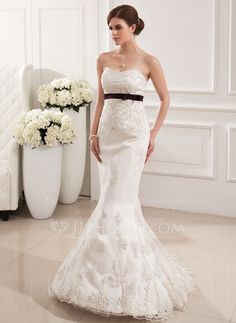 <3 Mermaid Sweetheart Sweep Train $205.99 Satin Tulle Wedding Dress With Lace Sash Beadwork (002019531) - JJsHouse