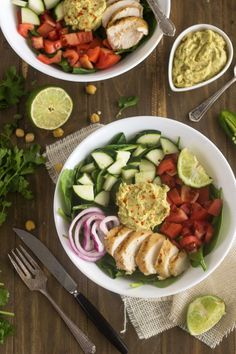 Panera Hummus Chicken Power Salad Copy Cat {GF, Low Fat, Low Calorie, Easy + High Protein} - Food Faith Fitness- lots of healthy salad recipes High Protein Recipes, Healthy Salad Recipes, Healthy Chicken Recipes, Healthy Snacks, Healthy Eating, Cooking Recipes, Clean Eating, Vegetarian Salad, Recipe Chicken