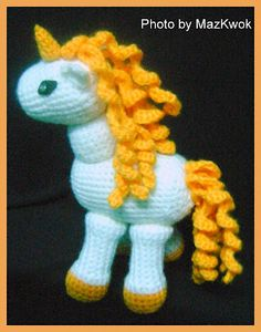 Mane-Tail: Crochet ch 15 to ch 20 for mane; ch 25 to ch 30 for tail; sc into : Mane-Tail: Crochet ch 15 to ch 20 for mane; ch 25 to ch 30 for tail; sc into chain from hook, 2 sc into every loop across (fasten off) Make as many as you want. Crochet Pony, Crochet Unicorn Pattern, Crochet Horse, Crochet Animals, Free Crochet, Knit Crochet, Crochet Patterns, Crocheted Toys, Crochet Dolls