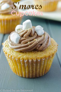 Moist graham cracker cupcakes filled with marshmallow fluff, topped with rich chocolate buttercream frosting, graham cracker crumbs and bits of marshmallow. The best s'mores cupcake yet!