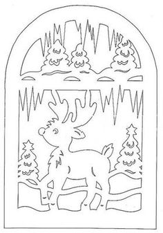 scroll saw deer Christmas Stencils, Christmas Templates, Christmas Paper, Christmas Colors, Kirigami, Scroll Pattern, Scroll Saw Patterns, Paper Cutting, Christmas Coloring Pages