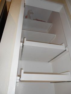 "DIY pull out shelves using 22"" Full Extension Side Mount Ball Bearing Drawer Slides from Ebay"