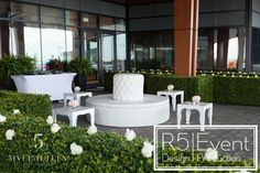 Chic white lounge furniture with green hedging and white roses- by Event Design Lounge Furniture, Outdoor Furniture Sets, Outdoor Decor, White Lounge, Crystal Candelabra, Event Company, Bat Mitzvah, White Roses, Corporate Events