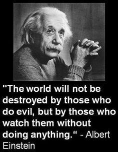 """""""Le monde ne sera pas détruit par ceux qui font le mal, mais par ceux qui les regardent sans rien faire""""  (A. Einstein)"""