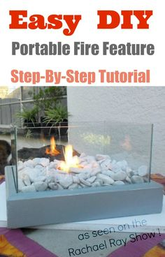 Easy craft projest : DIY Portable Fire Feature with step-by-step tutorial {use Indoors or Outdoors}