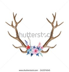 Watercolor floral antler. Hand drawn vintage deer horns with flowers, leaves and herbs. Eco style hipster illustration in vector