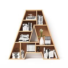 Alphabet in the form of book shelves. Letter A rendering Bookshelves font. Alphabet in the form of book shelves. Creative Bookshelves, Wall Bookshelves, Bookshelf Design, Wall Shelves Design, Book Shelves, Study Table Designs, 3d Foto, Book Racks, Home Decor Furniture