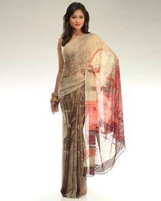Beige and Saddle Brown Printed Sari with Sequined Pallu by Satya Paul