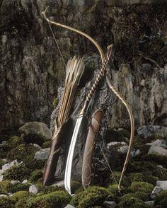 Bow, arrows, sword