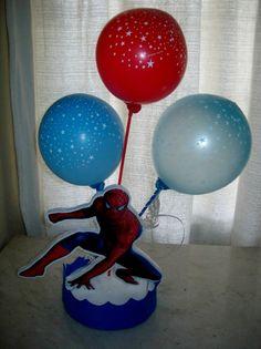 ideas con globos  para souvenirs   Centro de mesa de cumpleaños del hombre araña   Manualidades para ...
