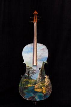 Cello landscape art painted #music #musical #instruments