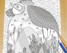 Fantastic Rooster with scenery in its belly - Adult Coloring Page Print