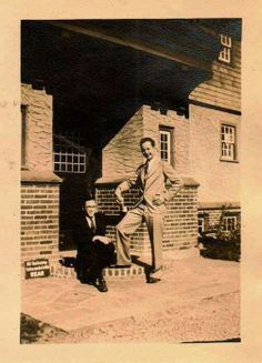 Old Vintage Photograph Men Posing & Holding Hands on Porch Gay Interest