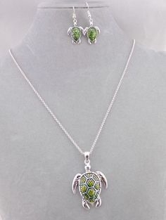 Long Silver Pendant Style Necklace Set Green Turtle Fashion Jewelry NEW #IconCollection #pendant