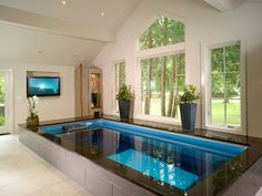 Small Indoor Pools with TV for Luxury Modern Home Decoration Ideas #resort