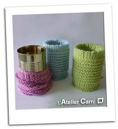 Chaussette pour boîte de conserve, édition pastel  (knitting socks for tin, pastel colors)
