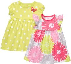 Carter`s 2 Pack Short Sleeve Dress Set - Lime/Floral-18 Months $17.99