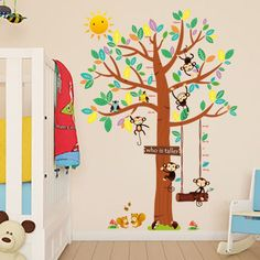 large monkey tree wall stickers decals animals birds tree adesivo wallpaper mural kids home bedroom nursery adhesive decorations