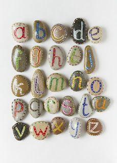 Alfabet op stenen