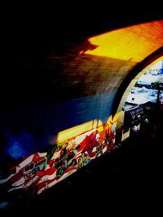 Sun, shadows and subway graffiti, Astoria, Queens, NY © Helen Jones-Florio