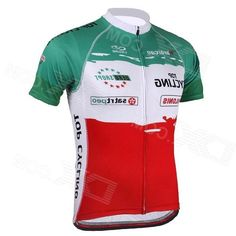 Topcycling SAD210 Mens Cycling Sweat-absorbing Short Sleeves Jersey Top - Red + Green (XL)