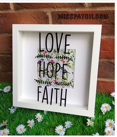 Love Hope Faith Shadow Box Frame, 23x23cm, Home Decor, Floral Bird Print Background, New Home Gift, Modern Christian Home, Positive Quote