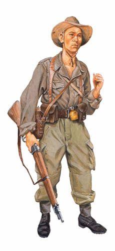 Soldado infantería AVN, va armado con un rifle MAS 36 de 7,5 mm, 1954-1955. Vietnam, pin by Paolo Marzioli