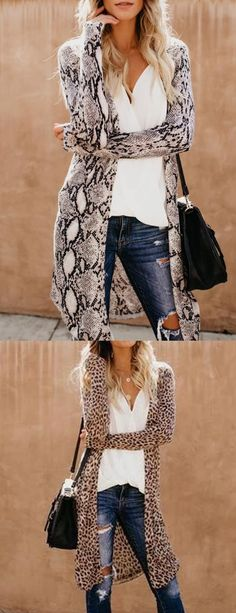 Collarless Leopard Print Outerwear Plus Size f&f plus size clothing Mode Outfits, Fall Outfits, Fashion Outfits, Womens Fashion, Outfit Invierno, Leopard Fashion, Plus Size Kleidung, Winter Stil, Cardigan Fashion
