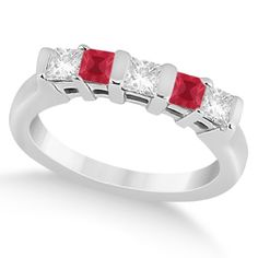 5 Stone Princess Diamond & Ruby Wedding Band Platinum 0.56ct, Women's, Size: 9, Silver